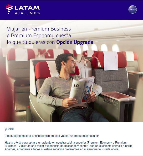 upgrade - Como funciona el sistema de subastas para upgrade a Business de LATAM
