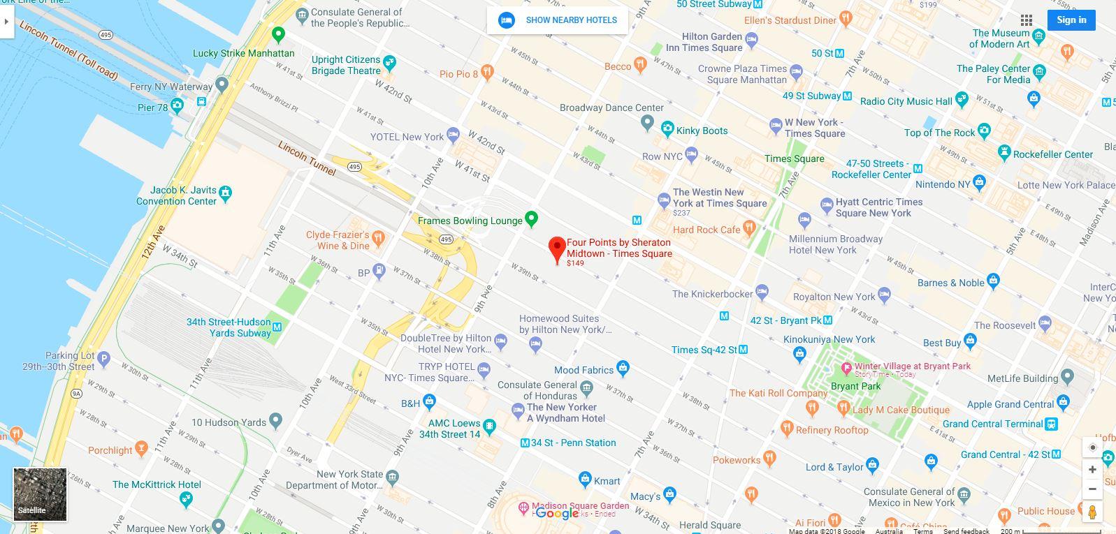 mapa four points - El Hotel Four Points by Sheraton en Manhattan New York