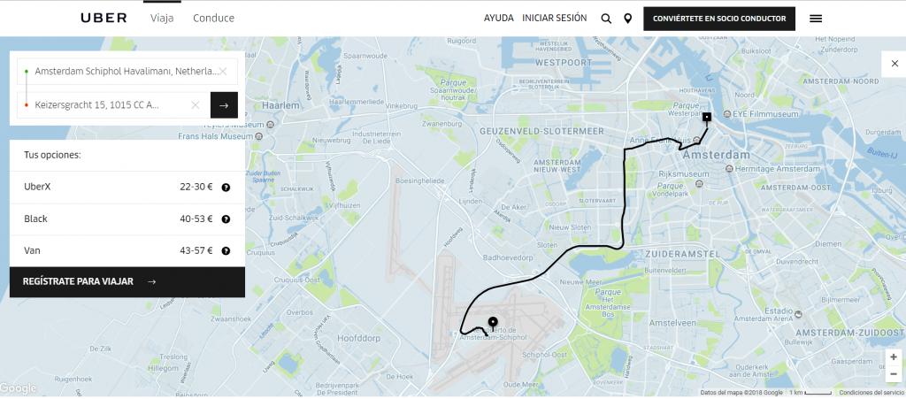 Uber amsterdam aeropuerto 1024x451 - Como llegar del Aeropuerto Schiphol de Amsterdam a la ciudad