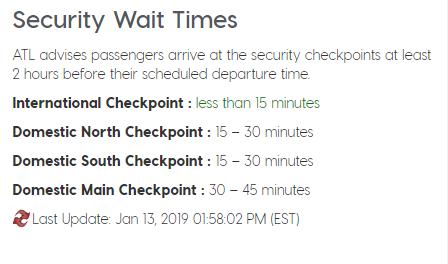 """Atlanta wait time - Grandes demoras en los aeropuertos de Estados Unidos por causa del """"shutdown"""" del Gobierno americano."""