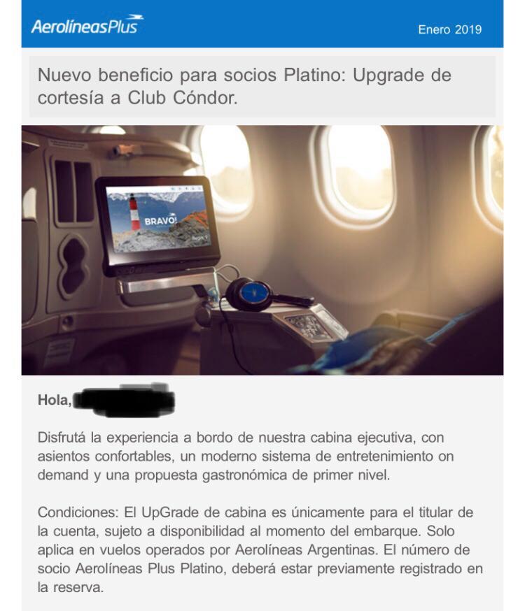 WhatsApp Image 2019 01 08 at 13.57.43 - Upgrade de cortesía en todos los vuelos de Aerolineas Argentinas para todos los socios Platino.